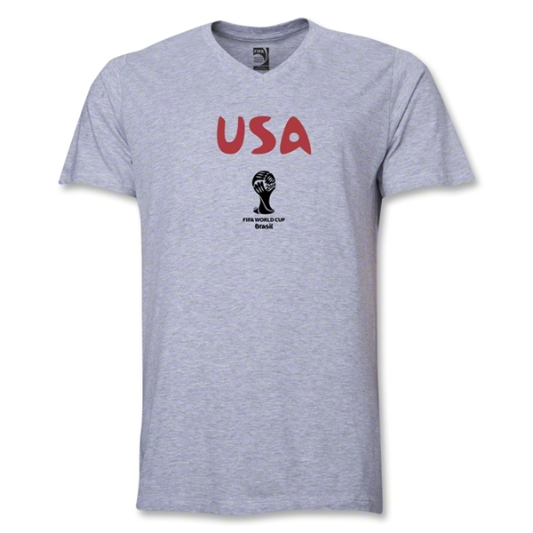 USA 2014 FIFA World Cup Brazil(TM) Men's Core V-Neck T-Shirt (Grey)