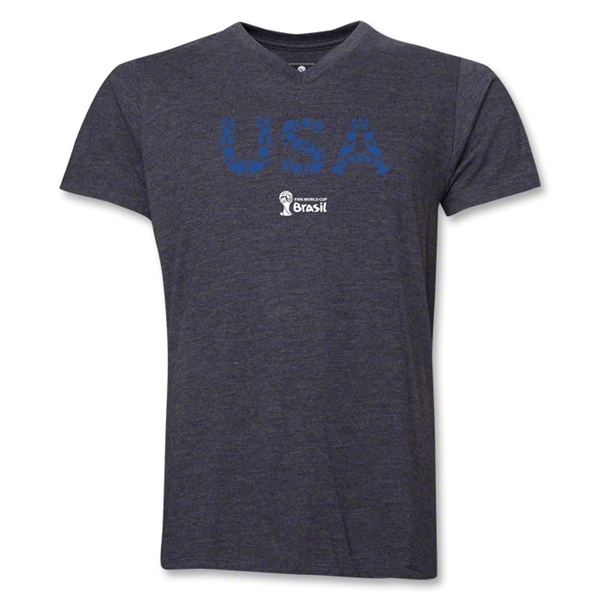 USA 2014 FIFA World Cup Brazil(TM) Men's Elements V-Neck T-Shirt (Dark Grey)