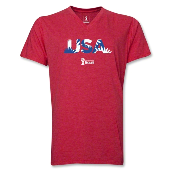 USA 2014 FIFA World Cup Brazil(TM) Men's Palm V-Neck T-Shirt (Heather Royal)
