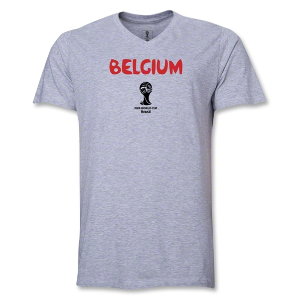 Belgium 2014 FIFA World Cup Brazil(TM) Men's Core V-Neck T-Shirt (Grey)