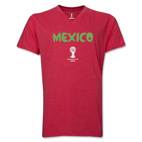 Mexico 2014 FIFA World Cup Brazil(TM) Men's Core V-Neck Core T-Shirt (Heather Red)