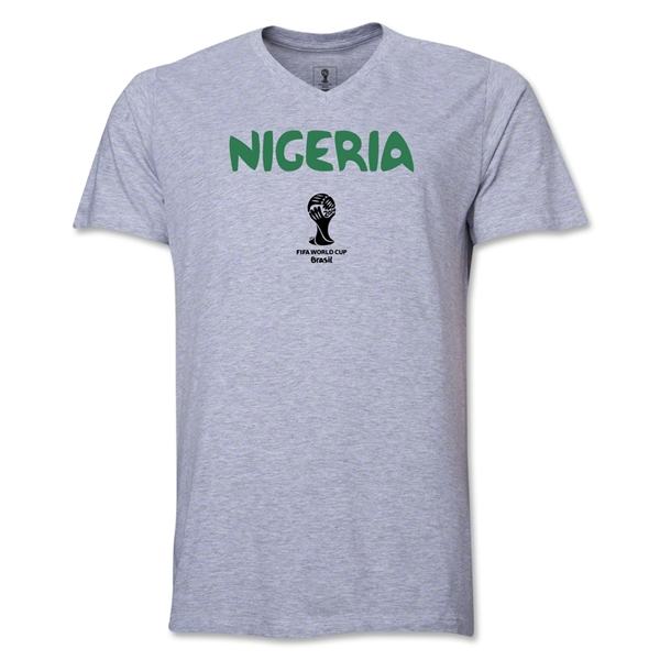 Nigeria 2014 FIFA World Cup Brazil(TM) Men's Core V-Neck Core T-Shirt (Grey)