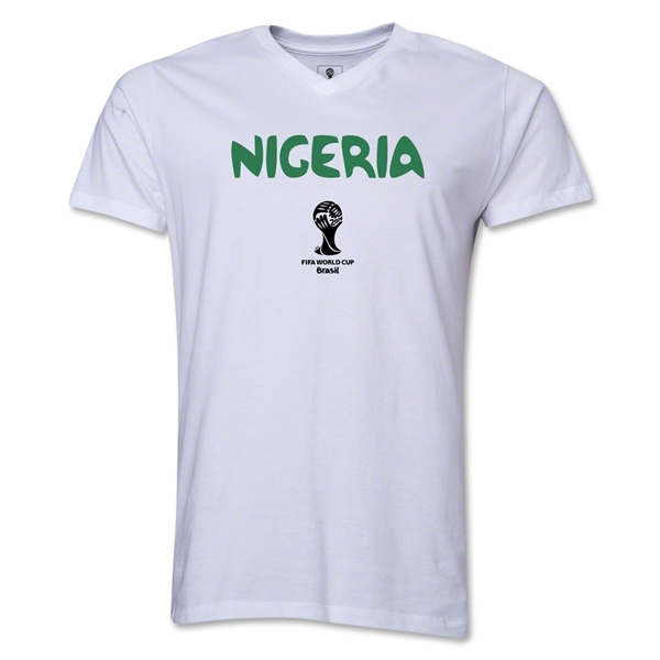 Nigeria 2014 FIFA World Cup Brazil(TM) Men's Core V-Neck Core T-Shirt (White)