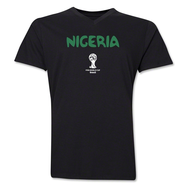 Nigeria 2014 FIFA World Cup Brazil(TM) Men's Core V-Neck Core T-Shirt (Black)