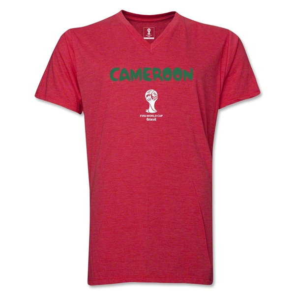 Cameroon 2014 FIFA World Cup Brazil(TM) Men's Core V-Neck Core T-Shirt (Heather Red)