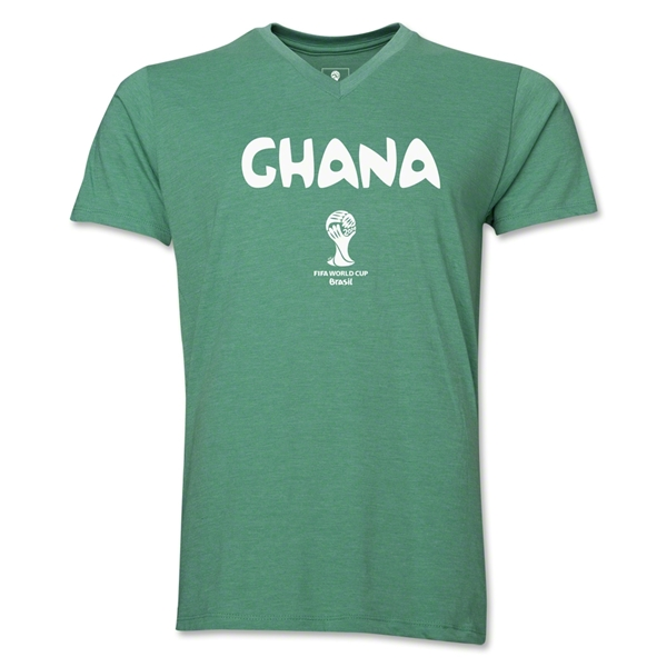 Ghana 2014 FIFA World Cup Brazil(TM) Men's Core V-Neck Core T-Shirt (Heather Green)