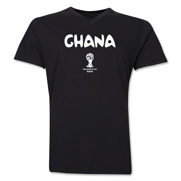 Ghana 2014 FIFA World Cup Brazil(TM) Men's Core V-Neck Core T-Shirt (Black)