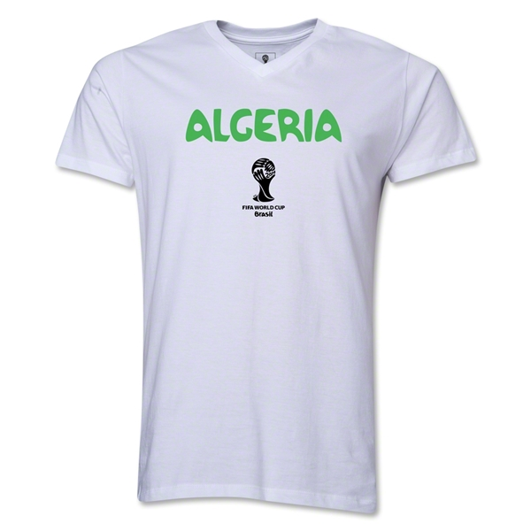 Algeria 2014 FIFA World Cup Brazil(TM) Men's Core V-Neck Core T-Shirt (White)