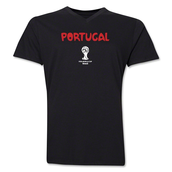 Portugal 2014 FIFA World Cup Brazil(TM) Men's Core V-Neck Core T-Shirt (Black)