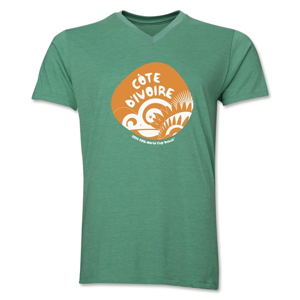 Cote d'Ivoire 2014 FIFA World Cup Brazil(TM) Men's Icon V-Neck Icon T-Shirt (Heather Green)