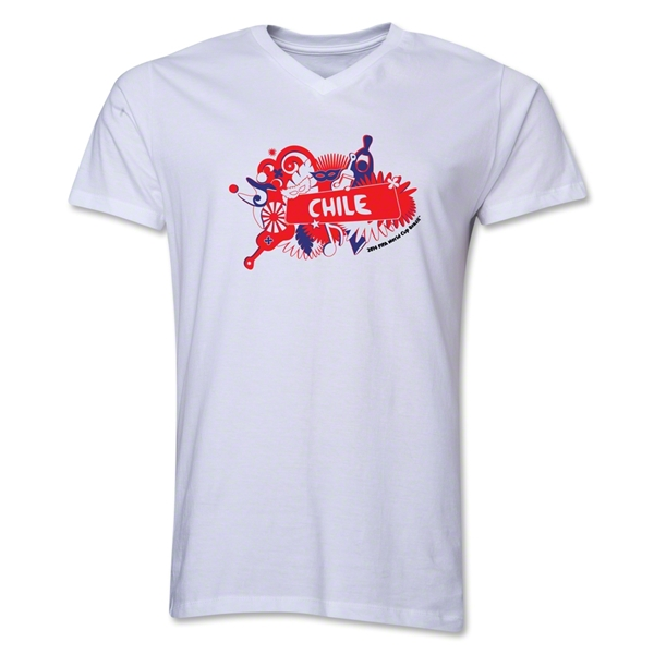 Chile 2014 FIFA World Cup Brazil(TM) Men's V-Neck Celebration T-Shirt (White)