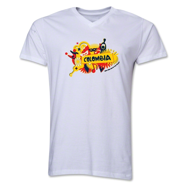 Colombia 2014 FIFA World Cup Brazil(TM) Men's V-Neck Celebration T-Shirt (White)