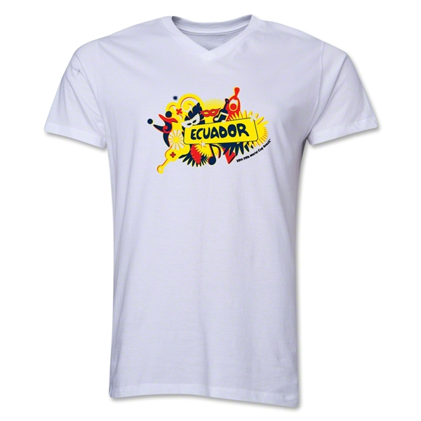 Ecuador 2014 FIFA World Cup Brazil(TM) Men's V-Neck Celebration T-Shirt (White)