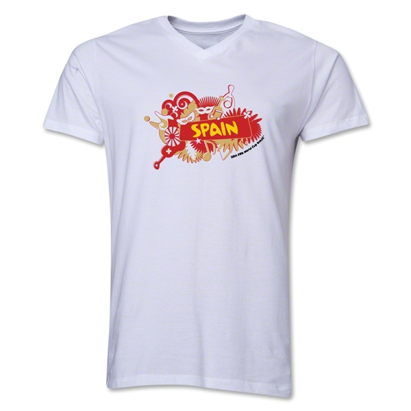 Spain 2014 FIFA World Cup Brazil(TM) Men's V-Neck Celebration T-Shirt (White)