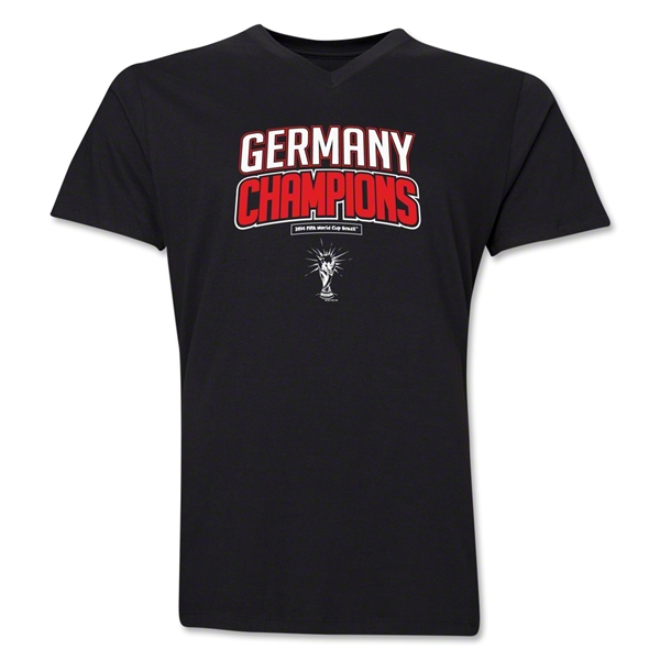 Germany 2014 FIFA World Cup Brazil(TM) Men's V-Neck Champions Logotype T-Shirt (Black)
