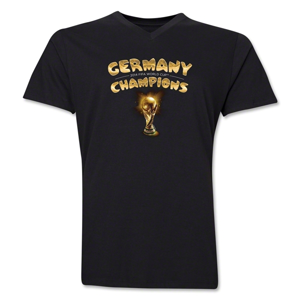 Germany 2014 FIFA World Cup Brazil(TM) Men's V-Neck Champions Trophy T-Shirt (Black)