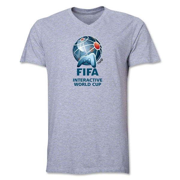FIFA Interactive World Cup Core Emblem V-Neck T-Shirt (Gray)
