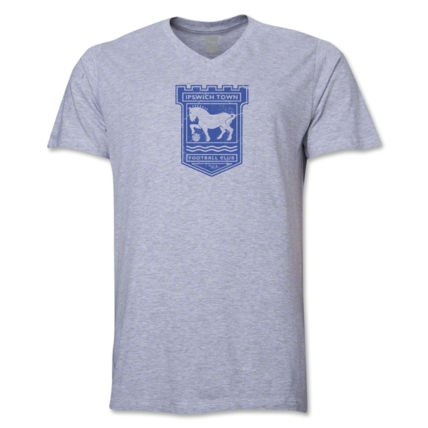 Ipswich Town Distressed Men's V-Neck T-Shirt (Gray)