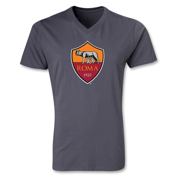 AS Roma Crest V-Neck T-Shirt (Dark Gray)