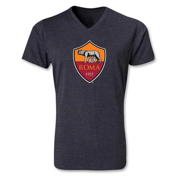 AS Roma Crest V-Neck T-Shirt (Heather Gray)