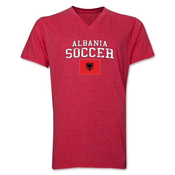 Albania Soccer V-Neck T-Shirt (Heather Red)
