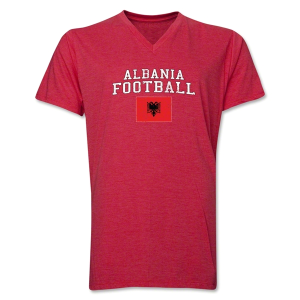 Albania Football V-Neck T-Shirt (Heather Red)