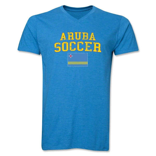 Aruba Soccer V-Neck T-Shirt (Heather Turquoise)