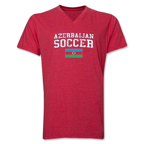 Azerbaijan Soccer V-Neck T-Shirt (Heather Red)