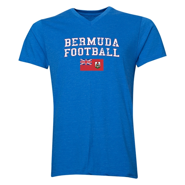 Bermuda Football V-Neck T-Shirt (Heather Royal)