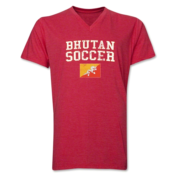 Bhutan Soccer V-Neck T-Shirt (Heather Red)