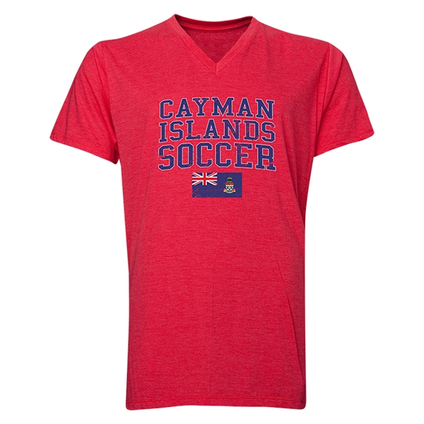Cayman Islands Soccer V-Neck T-Shirt (Heather Red)
