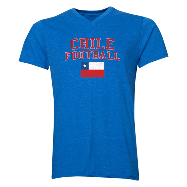 Chile Football V-Neck T-Shirt (Heather Royal)