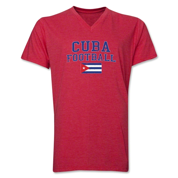 Cuba Football V-Neck T-Shirt (Heather Red)