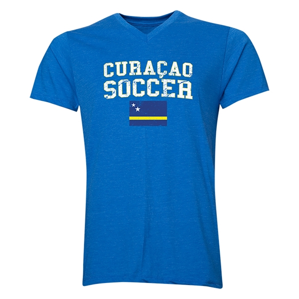 Curacao Soccer V-Neck T-Shirt (Heather Royal)