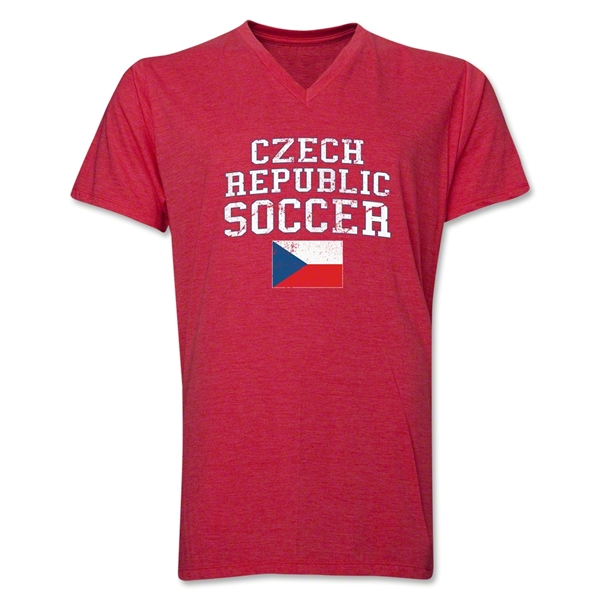 Czech Republic Soccer V-Neck T-Shirt (Heather Red)