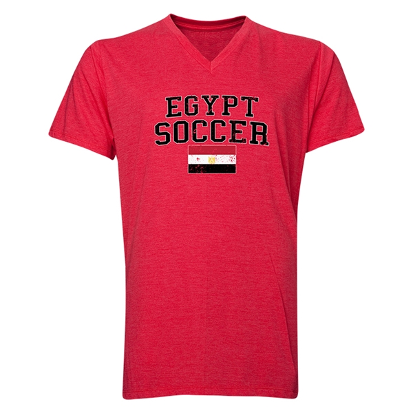 Egypt Soccer V-Neck T-Shirt (Heather Red)