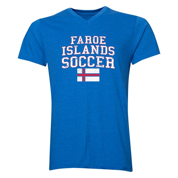 Faroe Islands Soccer V-Neck T-Shirt (Heather Royal)
