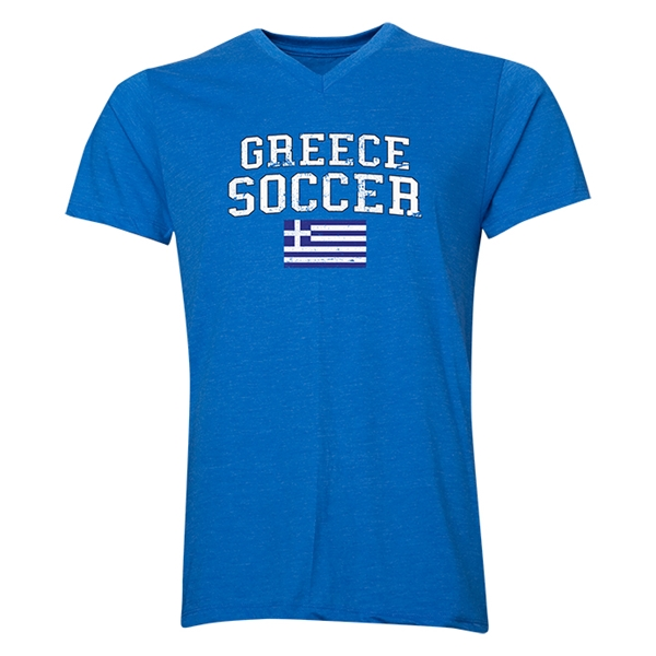 Greece Soccer V-Neck T-Shirt (Heather Royal)