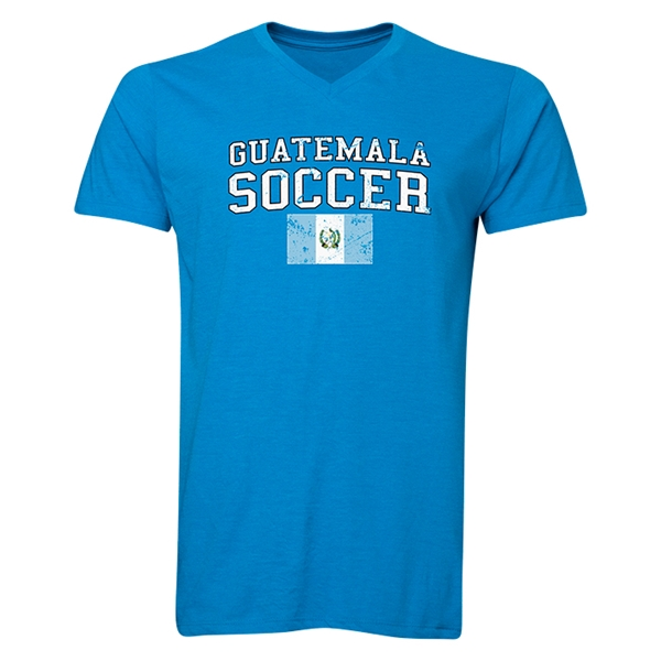 Guatemala Soccer V-Neck T-Shirt (Heather Turquoise)