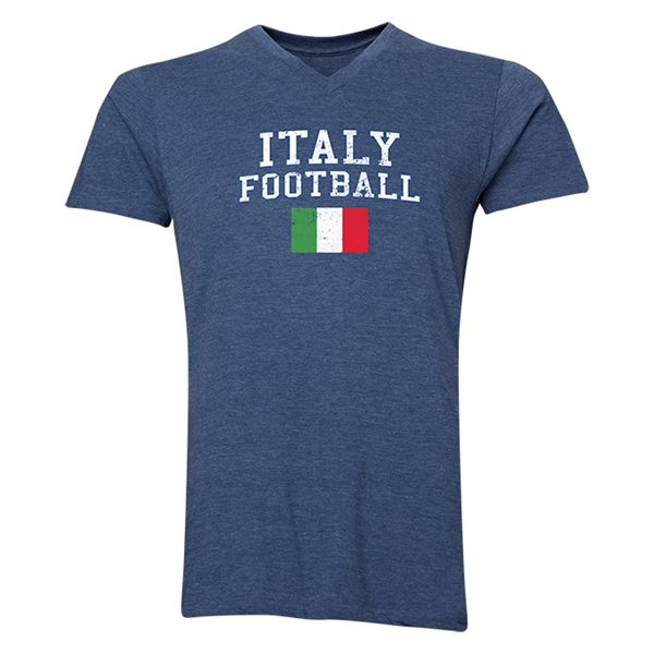 Italy Football V-Neck T-Shirt (Heather Navy)