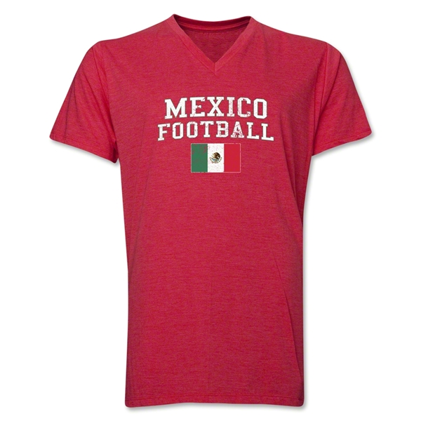 Mexico Football V-Neck T-Shirt (Heather Red)
