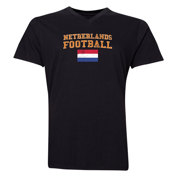 Netherlands Football V-Neck T-Shirt (Black)