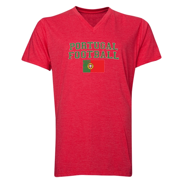 Portugal Football V-Neck T-Shirt (Heather Red)