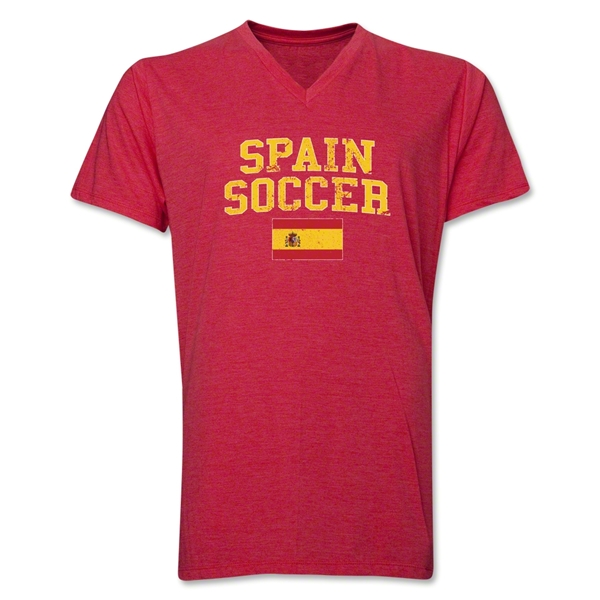 Spain Soccer V-Neck T-Shirt (Heather Red)