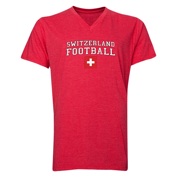 Switzerland Football V-Neck T-Shirt (Heather Red)