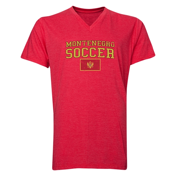 Montenegro Soccer V-Neck T-Shirt (Heather Red)