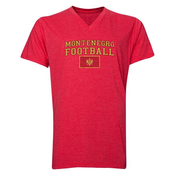 Montenegro Football V-Neck T-Shirt (Heather Red)
