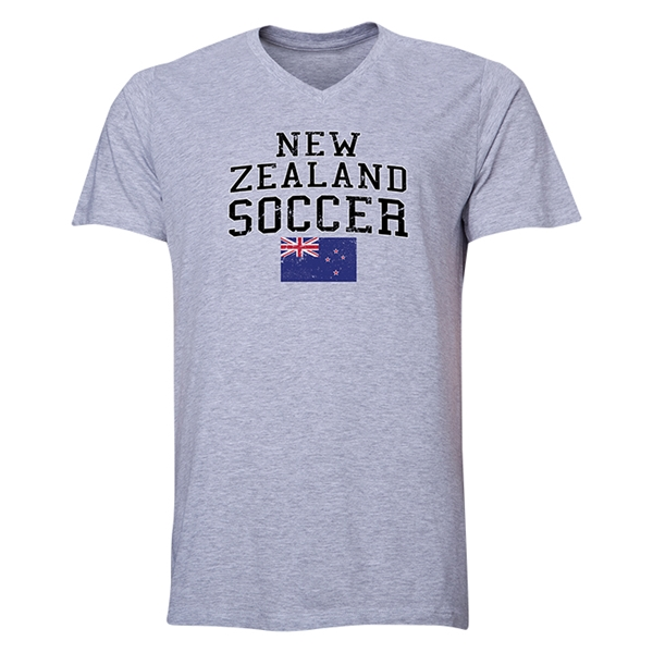 New Zealand Soccer V-Neck T-Shirt (Grey)