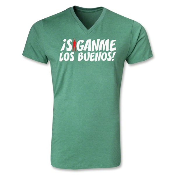 Chapulin Los Buenos V-Neck T-Shirt (Heather Green)