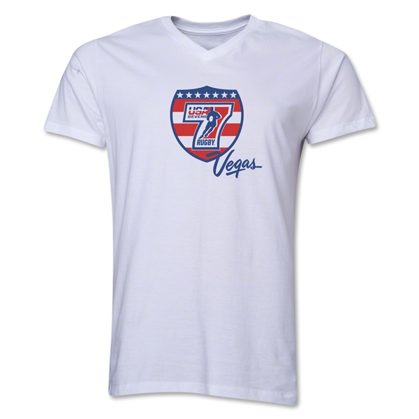 USA Sevens Vegas Rugby V-Neck T-Shirt (White)